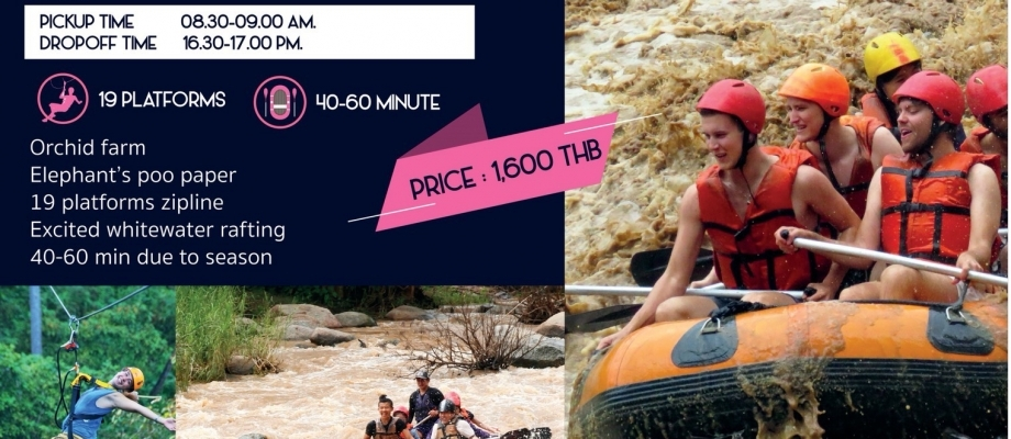One day whitewater rafting with 19 platforms zipline